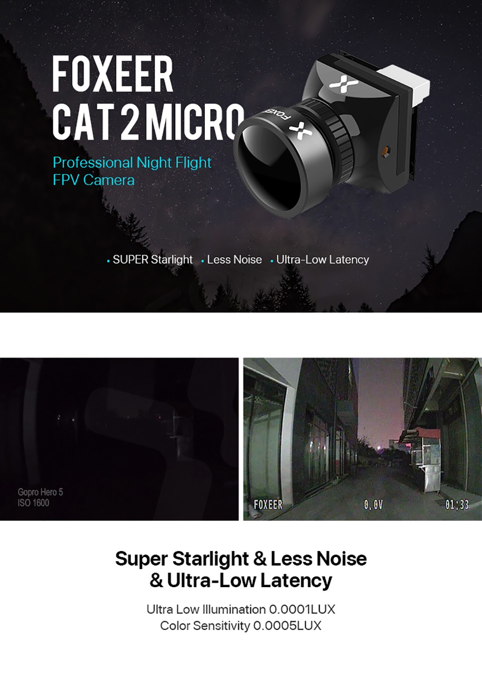Foxeer Cat 2 Micro 1200TVL StarLight Low Latency FPV Camera (Pick your Color) 11